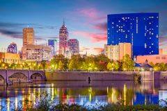 Indianapolis, Indiana, USA Skyline. On the White River stock photography
