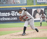 Indianapolis Indians pitcher Daniel Moskos. Indianapolis Indians Daniel Moskos throws a pitch, ball frozezn Stock Images