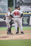 Indianapolis Indians Tom Filer, Dan Moskos and ca. Tcher Wyatt Torregas Stock Images