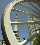Indianapolis Landmark. Soldiers and Sailors Monument on Monument Circle in the center of downtown  Indianapolis, Indiana seen through the spokes of a carriage Stock Photography