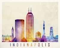Indianapolis landmarks watercolor Royalty Free Stock Image