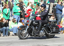 Indianapolis Metropolitan Police with Motorcycle at the Annual St Patrick's Day Parade Stock Photography