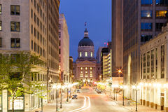 Indianapolis Morning. Statehouse of Indiana in Indianapolis at early Morning, view on West Market Street from Monument Circle Royalty Free Stock Images