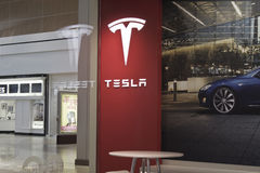 INDIANAPOLIS - OCTOBER 2015: Tesla Motors Store in Indianapolis Selling Electric Cars I Stock Photo