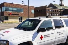 Indianapolis - Około Luty 2017: Amerykański czerwony krzyż pomocy ofiarom klęsk HQ Amerykański czerwony krzyż zapewnia przeciwawa Obraz Stock