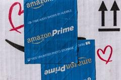 Indianapolis - Około Marzec 2017: Amazonka Pierwszorzędny Drobnicowy pakunek amazon com jest najważniejszym onlinym detalistą VI fotografia stock