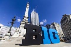 Indianapolis - Około Marzec 2017: Duzi Dziesięć Konferencyjny logo także stylizował jako Duży B1G w W centrum Indianapolis II lub Zdjęcie Stock