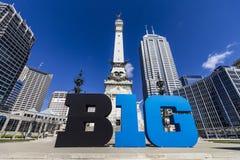 Indianapolis - Około Marzec 2017: Duzi Dziesięć Konferencyjny logo także stylizował jako Duży B1G w W centrum Indianapolis III lu Zdjęcie Stock