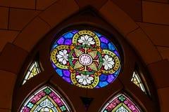 Indianapolis: Około Marzec 2018: Witraż przy Świętym Kierowym kościół katolickim Ten parafia ustanawiał w 1875 VI obrazy royalty free