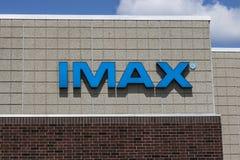 Indianapolis - Około Sierpień 2017: IMAX kina Signage i logo IMAX jest Wielkiego formata systemem Przedstawiać filmy IV obraz stock