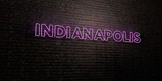INDIANAPOLIS -Realistic Neon Sign on Brick Wall background - 3D rendered royalty free stock image Stock Photo