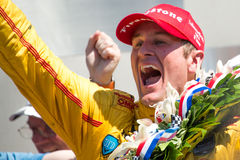 Indianapolis 500 2014. Ryan Hunter-Reay ( USA ) celebrates after winning the 98th Indianapolis 500 motor race at Indianapolis, Indiana, USA on 25 May 2014 Stock Images