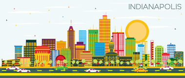 Indianapolis Skyline with Color Buildings and Blue Sky. Stock Photo