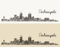 Indianapolis skyline engraved vector hand drawn. Indianapolis skyline, engraved style vector illustration hand drawn Royalty Free Stock Photo