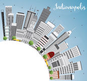 Indianapolis Skyline with Gray Buildings, Blue Sky and Copy Spac. E. Vector Illustration. Business Travel and Tourism Concept with Modern Buildings. Image for Stock Images