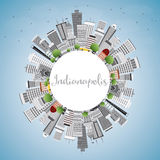 Indianapolis Skyline with Gray Buildings, Blue Sky and Copy Space Royalty Free Stock Photos