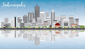 Indianapolis Skyline with Gray Buildings, Blue Sky and Reflectio. Ns. Vector Illustration. Business Travel and Tourism Concept with Modern Buildings. Image for Stock Image