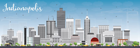 Indianapolis Skyline with Gray Buildings and Blue Sky. Stock Photos