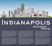 Indianapolis Skyline with Gray Buildings and Copy Space. Stock Photo