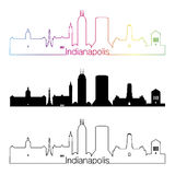 Indianapolis skyline linear style with rainbow Royalty Free Stock Photography