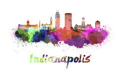 Indianapolis skyline in watercolor. Splatters with clipping path Royalty Free Stock Photography