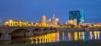 Indianapolis skyline and the White River. At twilight royalty free stock photography