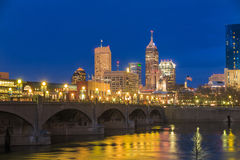 Indianapolis skyline and the White River Stock Photo