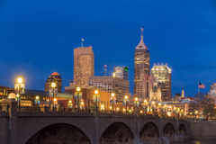 Indianapolis skyline and the White River Royalty Free Stock Photo