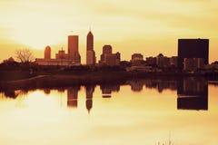 Indianapolis am Sonnenaufgang Lizenzfreies Stockfoto