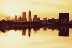 Indianapolis at sunrise. Downtown seen accross the river royalty free stock photo