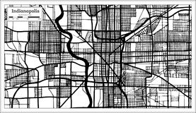 Indianapolis USA City Map in Retro Style Black and White Color. Outline Map. Vector Illustration Royalty Free Stock Photo