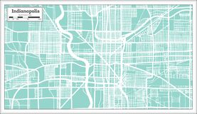 Indianapolis USA City Map in Retro Style. Outline Map. Vector Illustration Royalty Free Stock Photos
