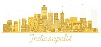 Indianapolis USA City skyline golden silhouette. Vector illustration. Business travel concept. Cityscape with landmarks Stock Photography