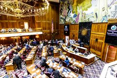 Indianapolis - vers en février 2018 : Indiana State House des représentants en session faisant à arguments pour et contre un Bill Photographie stock