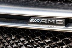 Indianapolis - vers en mars 2018 : Insigne d'un AMG Mercedes-Benz III Photos stock