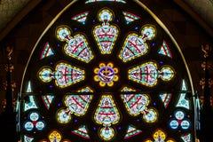 Indianapolis : Vers en mars 2018 : Rose Window à l'église catholique de coeur sacré Cette paroisse a été établie en 1875 III Image libre de droits