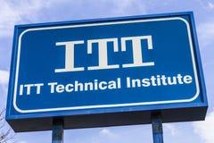 Indianapolis - vers en novembre 2016 : Emplacement éducatif de services d'ITT L'institut technique d'ITT a fermé tous ses campus  Photo libre de droits