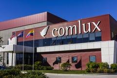 Indianapolis - vers en octobre 2016 : Sièges sociaux de Comlux Amérique Comlux est une ligne aérienne I de charte d'entreprise Image stock