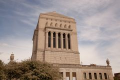 Indianapolis War Memorial. This Indianapolis War memorial is a large landmark in downtown Royalty Free Stock Photos
