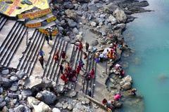Indiani che bagnano nel Gange Immagine Stock Libera da Diritti
