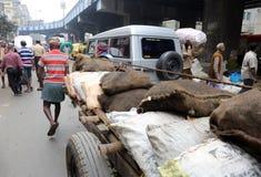 Indiani lavoranti duri che spingono onere gravoso tramite le vie Fotografia Stock Libera da Diritti
