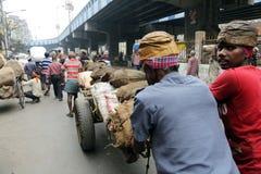 Indiani lavoranti duri che spingono onere gravoso tramite le vie Immagine Stock Libera da Diritti