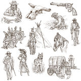 Indianie i Dziki zachód - ręka rysująca paczka ilustracja wektor