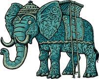 Indianin dekoruje słonia z koszem i drabinami royalty ilustracja
