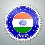 Indianin flaga etykietka Zdjęcia Royalty Free