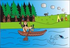 Indianin i jego żony falowanie royalty ilustracja