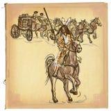 Indianin - ręka rysujący wektorowy nakreślenie, freehand, barwiona kreskowa sztuka, royalty ilustracja