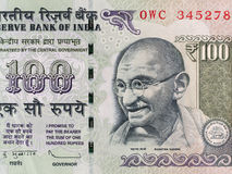 Indianin 100 rupii banknot, Mahatma Gandhi, India pieniądze zbliżenie Obraz Royalty Free