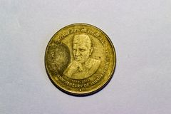 Indianin 5 rupii moneta narodziny 125th rocznicy Jawaharlal Nehru zdjęcie stock