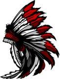 Indianina amerykański Rodzimy Piórko Headress Zdjęcia Royalty Free